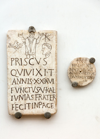 funerary: A funerary slab in the baths of Diocletian in Rome. Italy