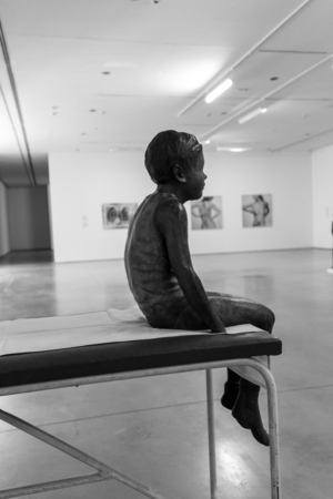 new medicine: CRACOW, POLAND - APRIL 21, 2016: Cracow - MOCAK Museum of Contemporary Art. New exhibition - Medicine in Art. Sofie Muller - Tristan on a Bench 2007, sculpture