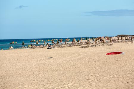 corralejo: Tourists rest on Corralejo Beach on Fuerteventura, Canary Islands