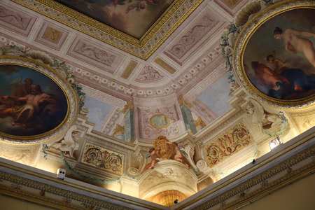 villa borghese: ROME, ITALY - JUNE 14, 2015:  Art painting of ceiling in  Villa Borghese, Rome, Italy