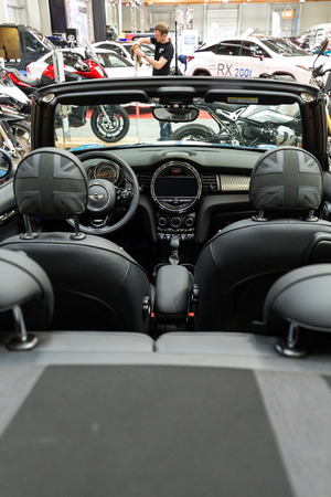 industrail: CRACOW, POLAND - MAY 21, 2016: Mini Cooper Cabrio displayed at 3rd edition of MOTO SHOW in Cracow Poland.Exhibitors present  most interesting aspects of the automotive industry