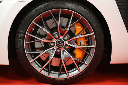 mag: CRACOW, POLAND - MAY 21, 2016: The wheel of Lexus  displayed at 3rd edition of MOTO SHOW in Cracow Poland. Exhibitors present  most interesting aspects of the automotive industry Editorial