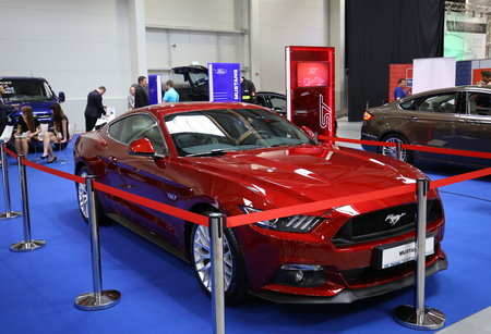 gt: CRACOW, POLAND - MAY 21, 2016: Ford Mustang GT displayed at 3rd edition of MOTO SHOW in Cracow Poland. Exhibitors present  most interesting aspects of the automotive industry
