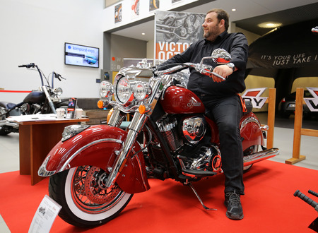 aspects: CRACOW, POLAND - MAY 21, 2016: Indian Scout motorcycle displayed at 3rd edition of MOTO SHOW in Krakow. Poland. Exhibitors present  most interesting aspects of the automotive industry