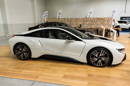 aspects: CRACOW, POLAND - MAY 21, 2016: BMW i8 Hybrid displayed at 3rd edition of MOTO SHOW in Krakow. Poland.Exhibitors present  most interesting aspects of the automotive industry