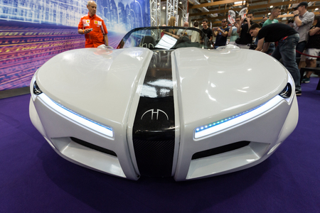 aspects: CRACOW, POLAND - MAY 21, 2016: 3rd edition of MOTO SHOW in Krakow. Poland.Exhibitors present  most interesting aspects of the automotive industry. The world debut Hydrocar Premiera, the first Polish hydrogen-car