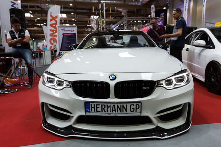 aspects: CRACOW, POLAND - MAY 21, 2016: BMW Cabrio displayed at 3rd edition of MOTO SHOW in Krakow. Poland.Exhibitors present  most interesting aspects of the automotive industry