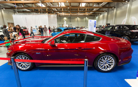 mustang gt: CRACOW, POLAND - MAY 21, 2016: Ford Mustang GT displayed at 3rd edition of MOTO SHOW in Cracow Poland. Exhibitors present  most interesting aspects of the automotive industry