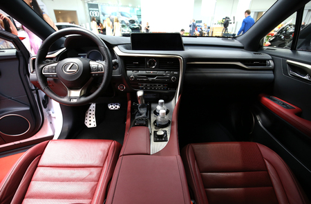 aspects: CRACOW, POLAND - MAY 21, 2016: Interior Design of Lexus NX 300h displayed at 3rd edition of MOTO SHOW in Cracow Poland. Exhibitors present  most interesting aspects of the automotive industry