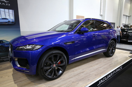 aspects: CRACOW, POLAND - MAY 21, 2016: Jaguar F-Pace displayed at 3rd edition of MOTO SHOW in Cracow Poland. Exhibitors present  most interesting aspects of the automotive industry Editorial