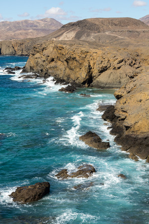 western part: Rock coast near La Pared village on the south western part of Fuerteventura . Canary Islands, Spain