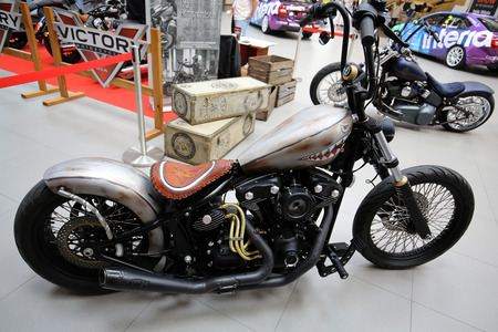 harley davidson motorcycle: CRACOW, POLAND - MAY 21, 2016: Harley Davidson motorcycle displayed at 3rd edition of MOTO SHOW in Krakow. Poland. Exhibitors present  most interesting aspects of the automotive industry