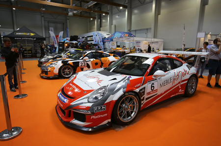 aspects: CRACOW, POLAND - MAY 21, 2016: Porsche 911 GT3 displayed at 3rd edition of MOTO SHOW in Cracow Poland. Exhibitors present  most interesting aspects of the automotive industry Editorial