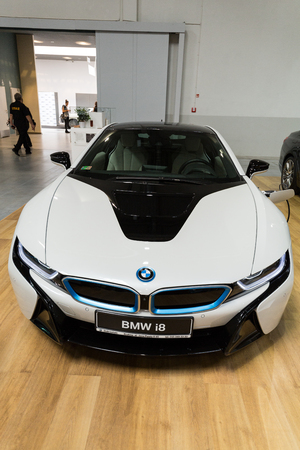 industrail: CRACOW, POLAND - MAY 21, 2016: BMW i8 Hybrid displayed at 3rd edition of MOTO SHOW in Krakow. Poland.Exhibitors present  most interesting aspects of the automotive industry