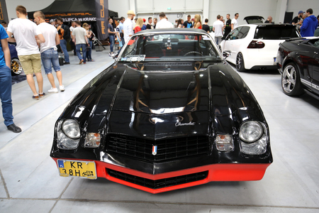 aspects: CRACOW, POLAND - MAY 21, 2016: Pontiac Trans Am displayed at 3rd edition of MOTO SHOW in Krakow. Poland. Exhibitors present  most interesting aspects of the automotive industry Editorial