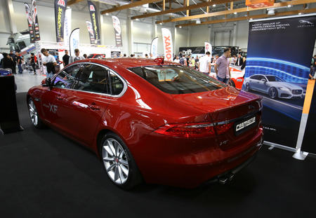 aspects: CRACOW, POLAND - MAY 21, 2016: Jaguar XF displayed at 3rd edition of MOTO SHOW in Cracow Poland. Exhibitors present  most interesting aspects of the automotive industry Editorial