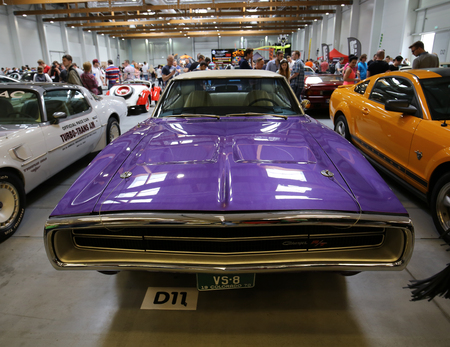 rt: CRACOW, POLAND - MAY 21, 2016: Dodge Charger R-T  displayed at 3rd edition of MOTO SHOW in Cracow Poland. Exhibitors present  most interesting aspects of the automotive industry