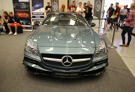 aspects: CRACOW, POLAND - MAY 21, 2016: Engine tuning Mercedes displayed at 3rd edition of MOTO SHOW in Krakow. Poland. Exhibitors present  most interesting aspects of the automotive industry