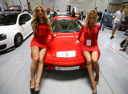 motor show: CRACOW, POLAND - MAY 21, 2016: Ferrari car displayed at 3rd edition of MOTO SHOW in Cracow Poland. Exhibitors present  most interesting aspects of the automotive industry