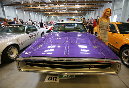 CRACOW, POLAND - MAY 21, 2016: Dodge Charger R-T  displayed at 3rd edition of MOTO SHOW in Cracow Poland. Exhibitors present  most interesting aspects of the automotive industry