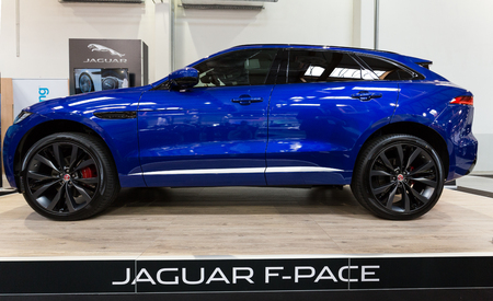 CRACOW, POLAND - MAY 21, 2016: Jaguar F-Pace displayed at 3rd edition of MOTO SHOW in Cracow Poland. Exhibitors present  most interesting aspects of the automotive industry Editorial
