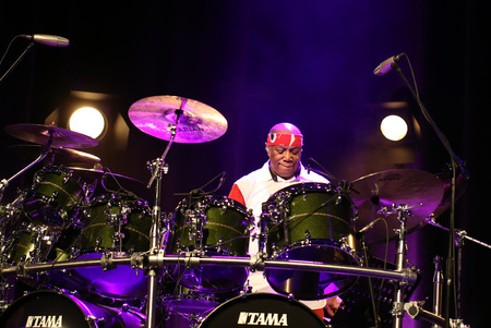 cracow: CRACOW, POLAND - MARCH 16, 2016: Famous American drummer Billy Cobham live on stage in ICE Cracow, Poland