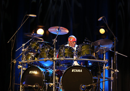funk music: CRACOW, POLAND - MARCH 16, 2016: Famous American drummer Billy Cobham live on stage in ICE Cracow, Poland