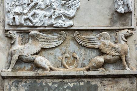 villa borghese: Bas-relief  in Garden of Villa Borghese. Rome, Italy
