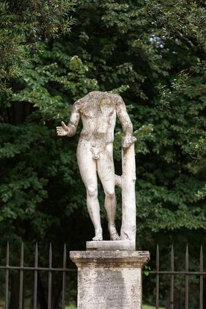 villa borghese:  Marble statue in Villa Borghese, public park in Rome. Italy  Italy Stock Photo
