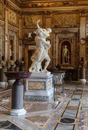sculptural: ROME, ITALY - JUNE 14, 2015:  baroque marble sculptural group by Italian artist Gian Lorenzo Bernini, Rape of Proserpine in Galleria Borghese, Rome, Italy