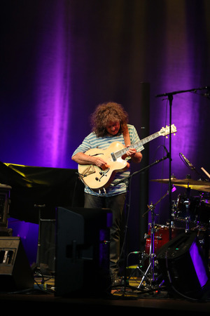 cracow: CRACOW, POLAND - JUNE 26, 2016: Pat Metheny playing on acoustic guitar at Summer Jazz Festival in Cracow, Poland.