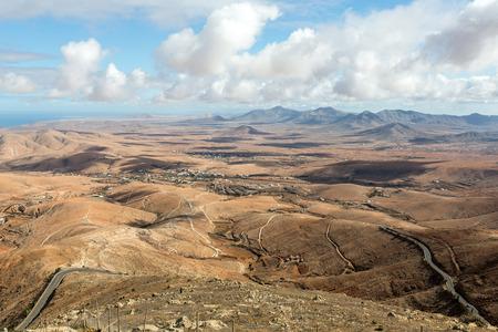 Volcanic Lanscape. Panoramic view  on  Fuerteventura from Mirador Morro Velosa, Fuerteventura, Canary Island, Spain
