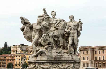 Sculpture at Vittorio Emanuele II Bridge, Rome, Italy. Stock Photo