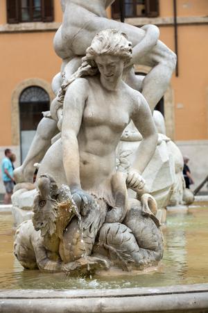 neptun: Piazza Navona Fountain of Neptun. Designed by Giacomo della Porta (1574) and Antonio della Bitta. Rome, Italy Stock Photo