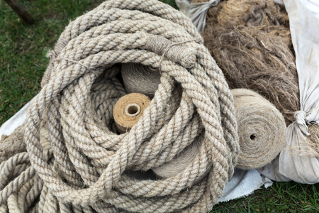 tether: Close-up of rope with knot Stock Photo