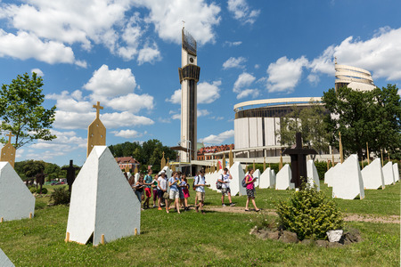 reconciliation: CRACOW, POLAND -  JULY 22, 2016: Zone of Reconciliation at the Sanctuary of Divine Mercy in Lagiewniki. WYD participants will be able to confess to more than 50 additional confessionals. Cracow Poland
