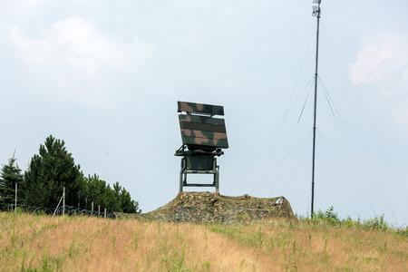 antiterrorist: CRACOW, POLAND - JULY 26, 2016:  Mobile medium range radar NUR 15. The anti-terrorist protection  before the airstrike during World Youth Day 2016