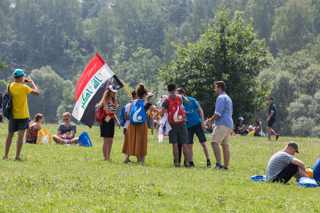CRACOW, POLAND - JULY 26, 2016: World Youth Day 2016 - The gesture of the solidarity with pilgrims from Iraq in the Sanctuary of Divine Mercy in Lagiewniki. Cracow, Poland