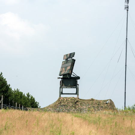 CRACOW, POLAND - JULY 26, 2016:  Mobile medium range radar NUR 15. The anti-terrorist protection  before the airstrike during World Youth Day 2016