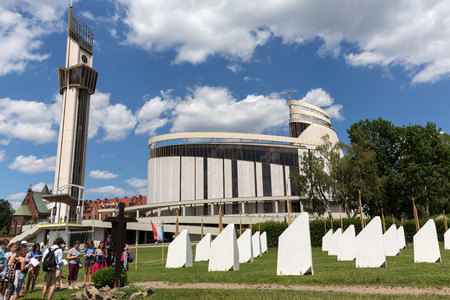 francis: CRACOW, POLAND -  JULY 22, 2016: Zone of Reconciliation at the Sanctuary of Divine Mercy in Lagiewniki. WYD participants will be able to confess to more than 50 additional confessionals. Cracow Poland