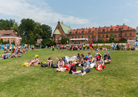 CRACOW, POLAND - JULY 26, 2016: World Youth Day 2016 - Pilgrims in the Sanctuary of Divine Mercy in Lagiewniki. Cracow, Poland