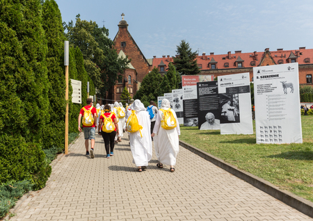 CRACOW, POLAND - JULY 26, 2016: World Youth Day 2016 - Missionaries of Charity in the Sanctuary of Divine Mercy in Lagiewniki. Cracow, Poland