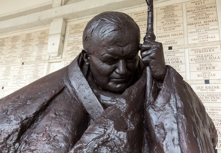 homage: CRACOW; POLAND - JULY 22; 2016: the bust - In homage to John Paul II by Anna Gulak in the Centre of Pope John Paul II in Lagiewniki before WYD 2016.Cracow Poland