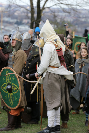 KRAKOW, POLAND - MARCH 29, 2016: Unidentified participants of Rekawka - Polish tradition, celebrated in Krakow on Tuesday after Easter. Currently has the character of festival historical reconstruction