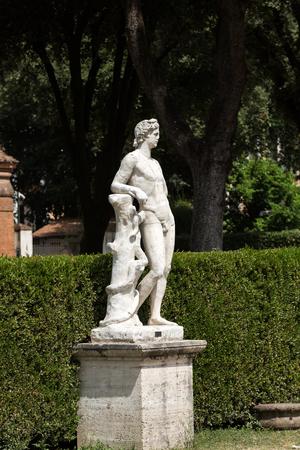 villa borghese: Marble statue in Villa Borghese, public park in Rome. Italy  Italy