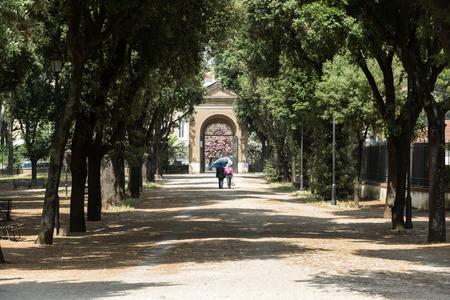 villa borghese: Walking route of the Villa Borghese Gardens Park . Rome, Italy