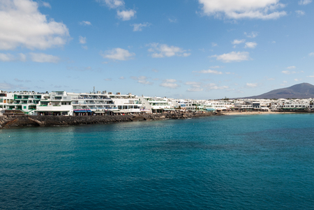 furled: Playa Blanca on Lanzarote. Canary Island .Spain Editorial