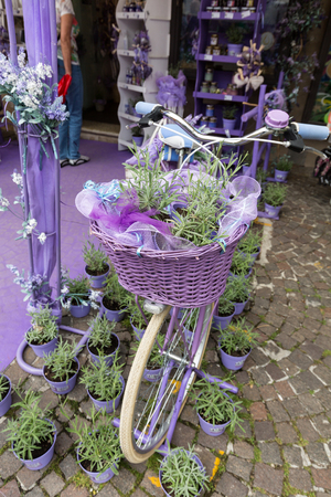 showwindow: SIRMIONE, ITALY - MAY 5, 2016: Sirmione, Italy. Show-window the  shop of perfumery and spirits from a lavender. Italy takes the second place in the world on production of oil of a lavender