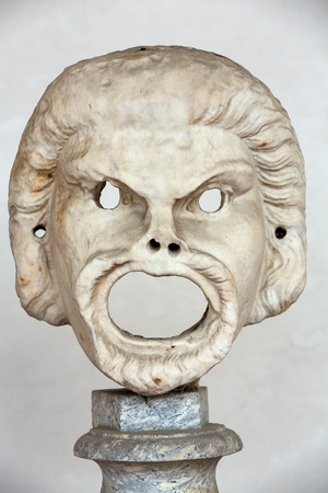 civilisation: the marble-head scuplture in the baths of Diocletian (Thermae Diocletiani) in Rome. Italy