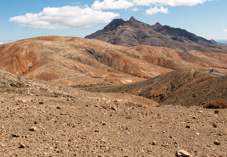 Beautiful volcanic mountains on  Fuerteventura. Canary Islands. Stock Photo